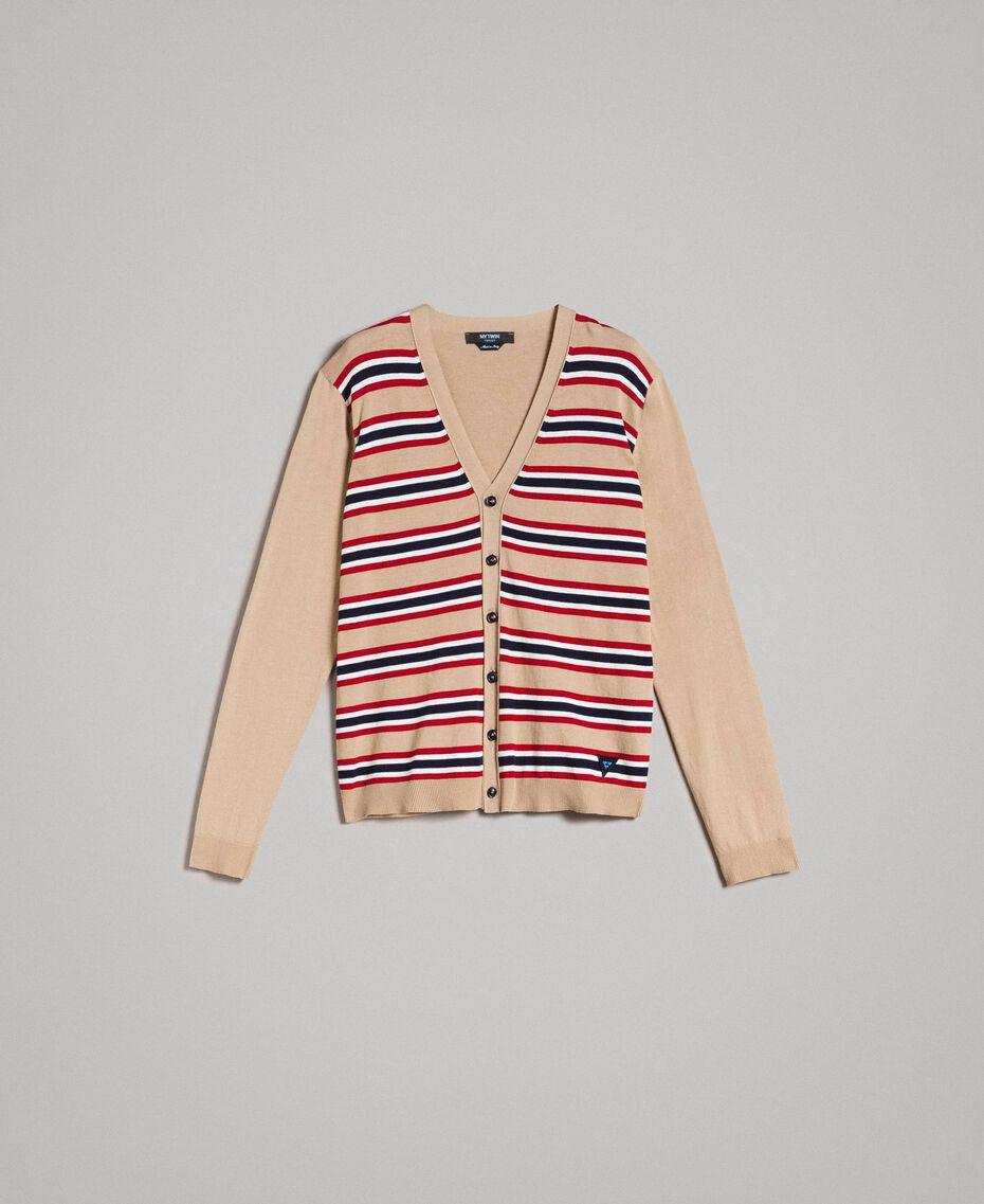 "Crêpe cotton striped cardigan Multicolour Porcelain Beige / ""Dark Raspberry"" Red Man 191UT3032-0S"