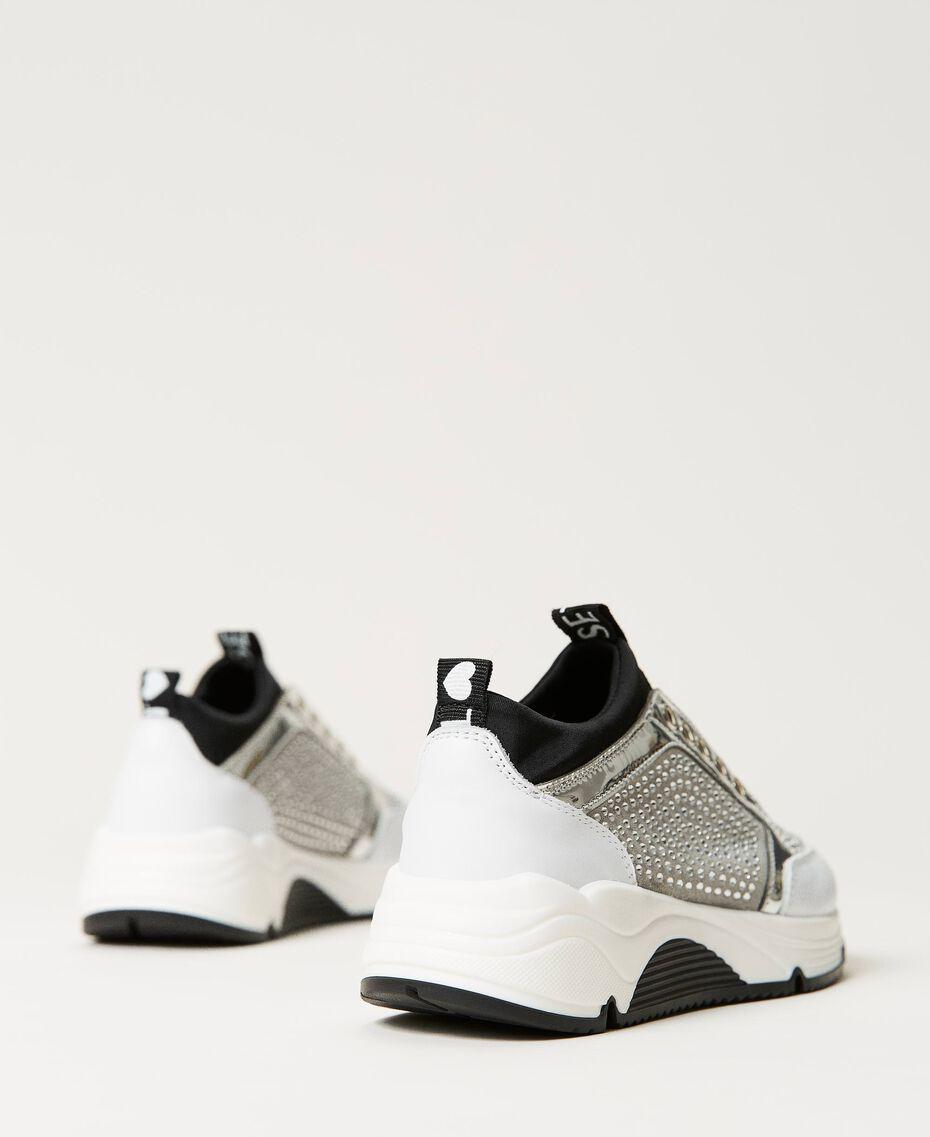 Sneakers de piel con strass Bicolor Blanco «Off White» / Plata Niño 211GCJ020-02