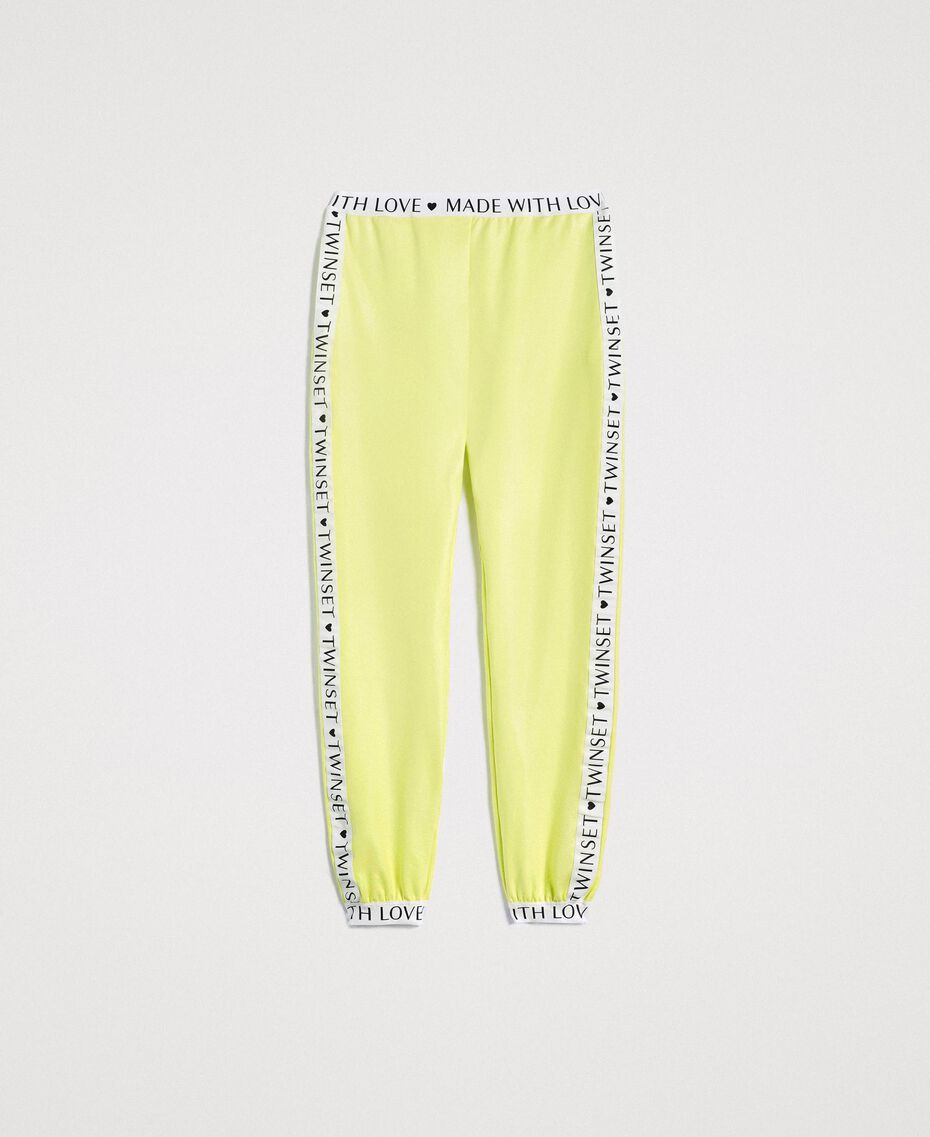 "Fleece trousers with branded trims ""Lemon Juice"" Yellow Woman 191LL28FF-0S"