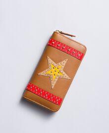 Portefeuille en similicuir avec patch Marron «Toffee» Étoile Femme RA8TGP-01