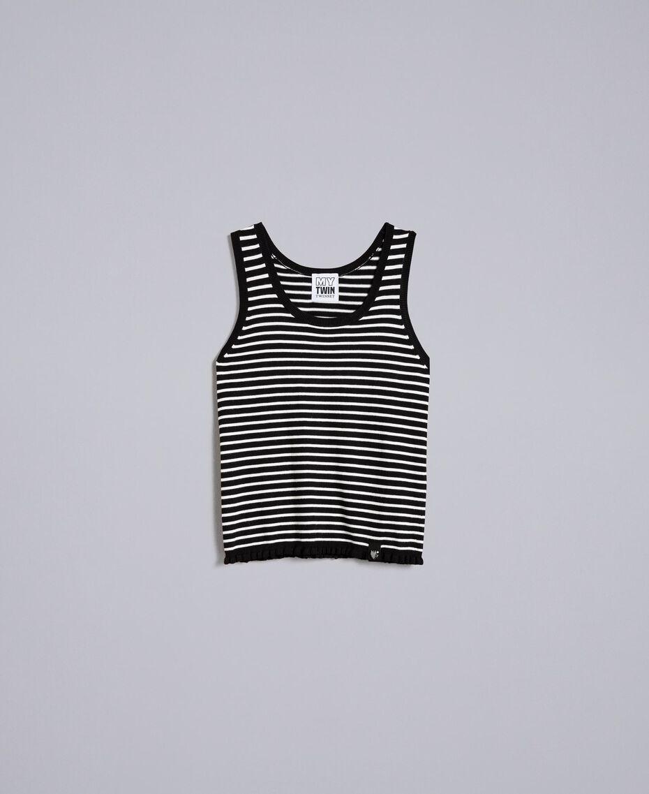 Top à rayures bicolores avec ruches Rayure Noir / Blanc Nacre Femme JA83BQ-0S