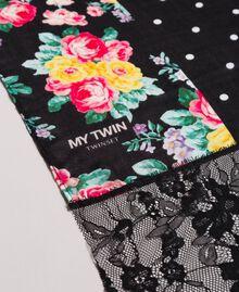 Sciarpa in viscose con stampa e pizzo Bicolore Nero / Stampa Flowers Nero Donna 191MA4308-01