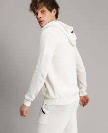 Cotton blend knit sweatshirt Matte White Man 191UT3080-02