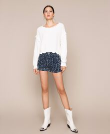 Shorts in jeans con bouclé Denim Blue Donna 201MP234C-0T