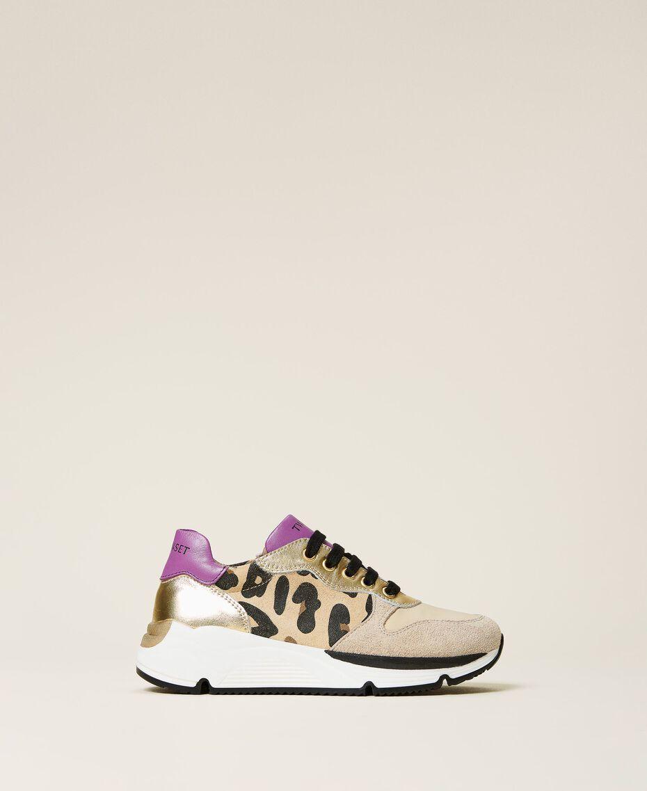 Zapatillas de running con estampado animal print Multicolor Oro / Estampado Maculado Mazapán / Wood Violet Niño 212GCJ090-03
