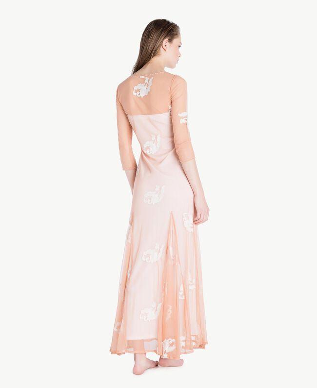Langes Kleid mit Stickerei Elfenbein Frau MS8BJJ-04