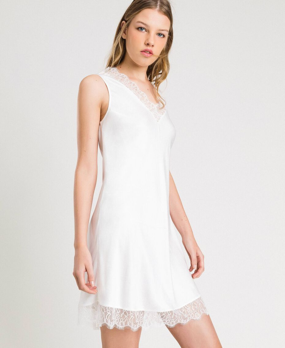 Slip dress in satin and lace Ivory Woman 191LL2DBB-02