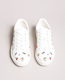 Faux leather sneakers with logo White Cream Woman 191MCP080-04