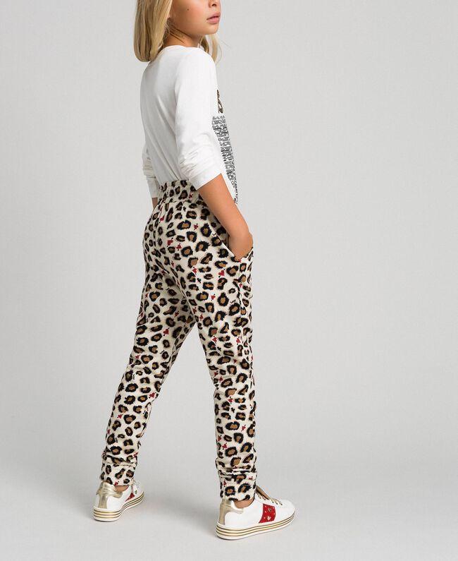 Pantaloni a stampa animalier con cuori Stampa Maculato Bambina 192GJ2330-04