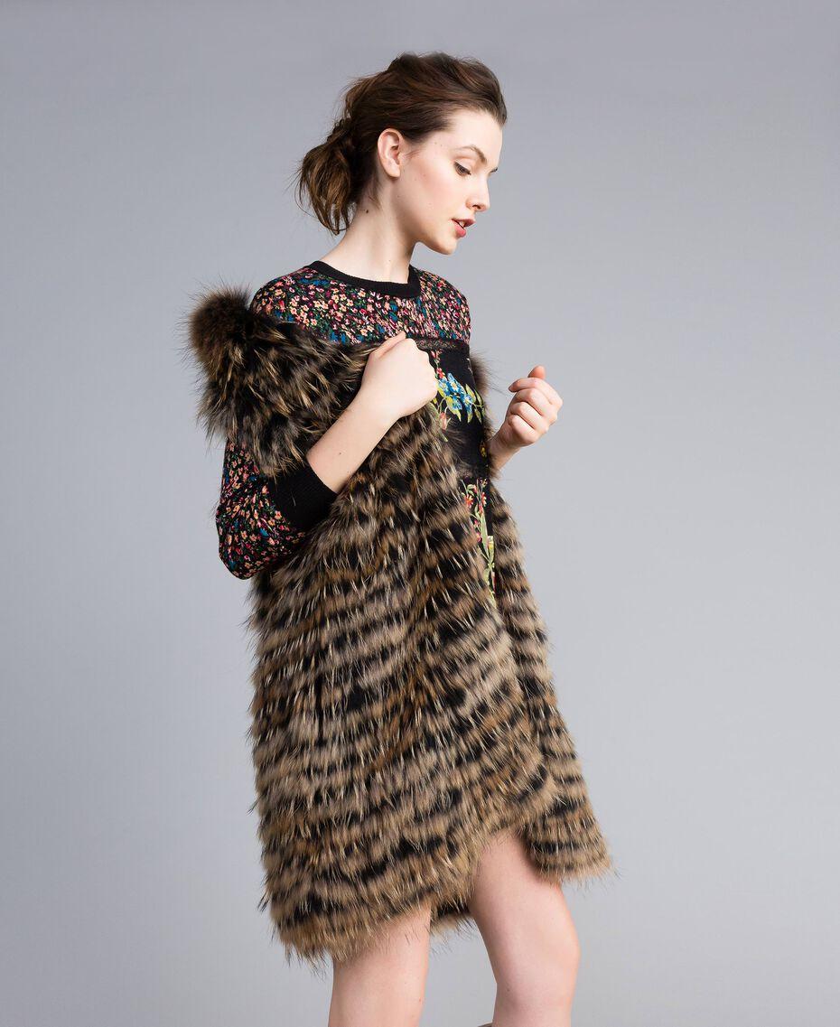 Gilet tricoté en fourrure Bicolore Noir / Camel Femme PA82LD-02