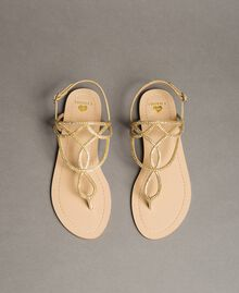 """Flat thong sandals with rhinestones """"Golden"""" Gold Woman 191LM4ZSS-04"""