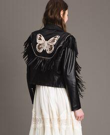 Blouson en cuir à franges Noir Femme 191TT2170-03