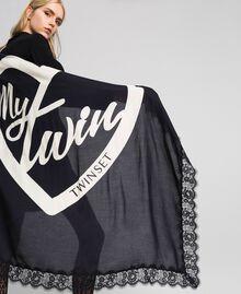 Heart print and lace kefiah Black / Vanilla MyTwin Print Woman 192MA432E-05