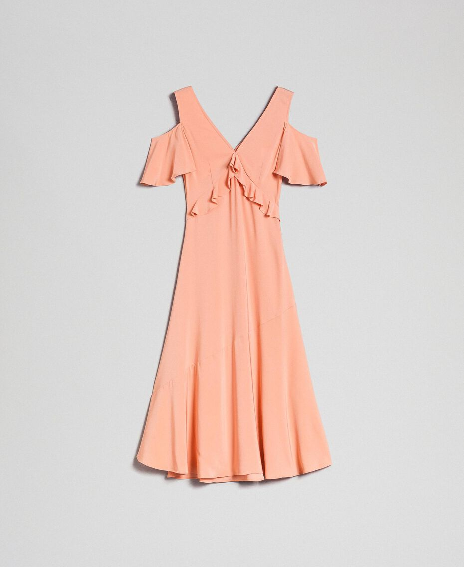 Georgette long dress with flounce Mousse Pink Woman 192TP2385-0S