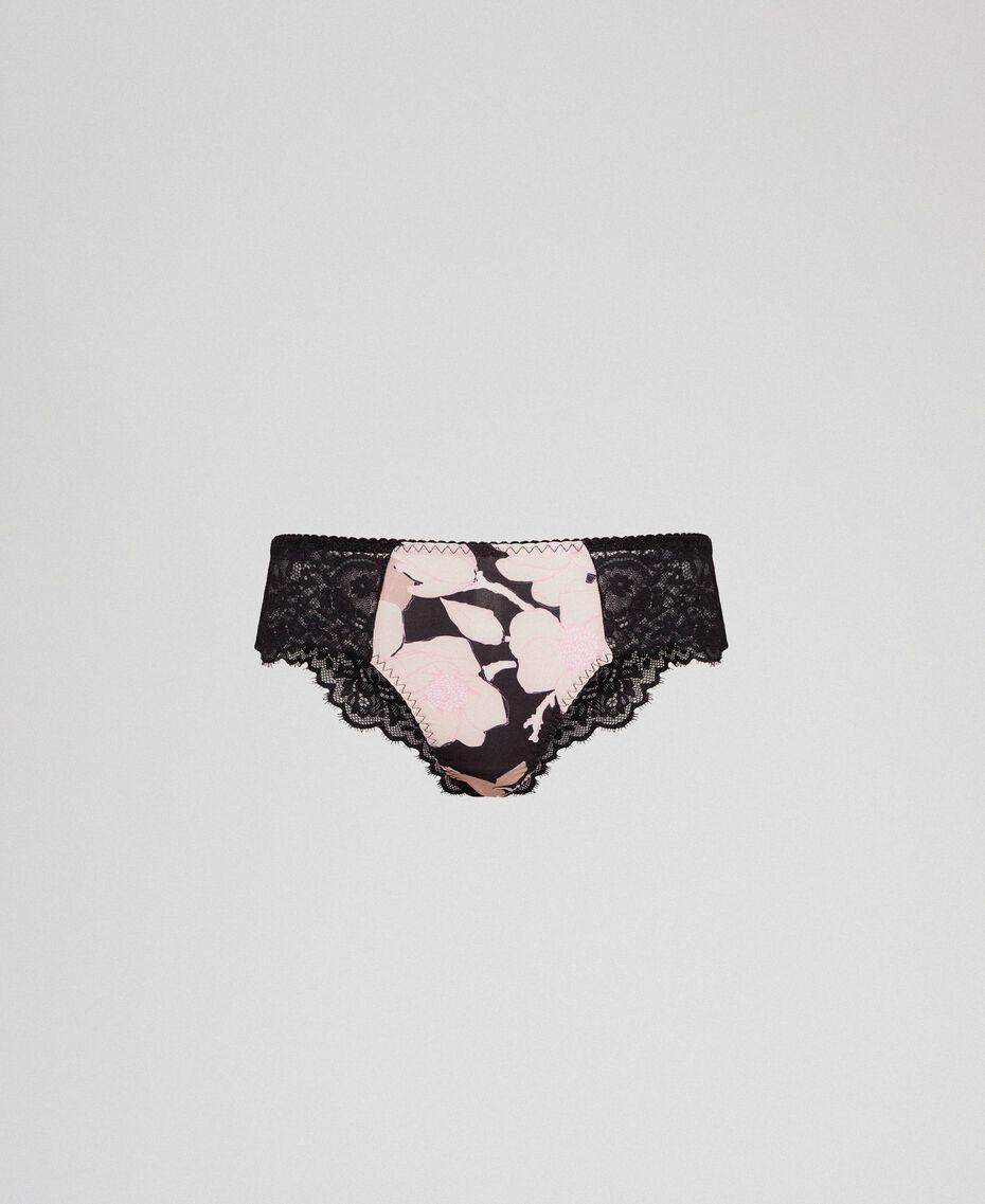 Culotte brésilienne avec imprimé floral et dentelle Imprimé Fleur Noir Femme 192LL6K77-0S