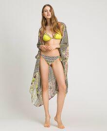 "Krepp-langer Kimono mit Schalaufdruck Motiv ""Lemon Juice"" Gelb Schal Frau 191LB2HLL-01"