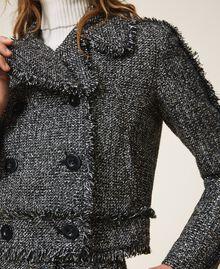 Bouclé biker jacket with sequins Black Woman 202MT218A-04