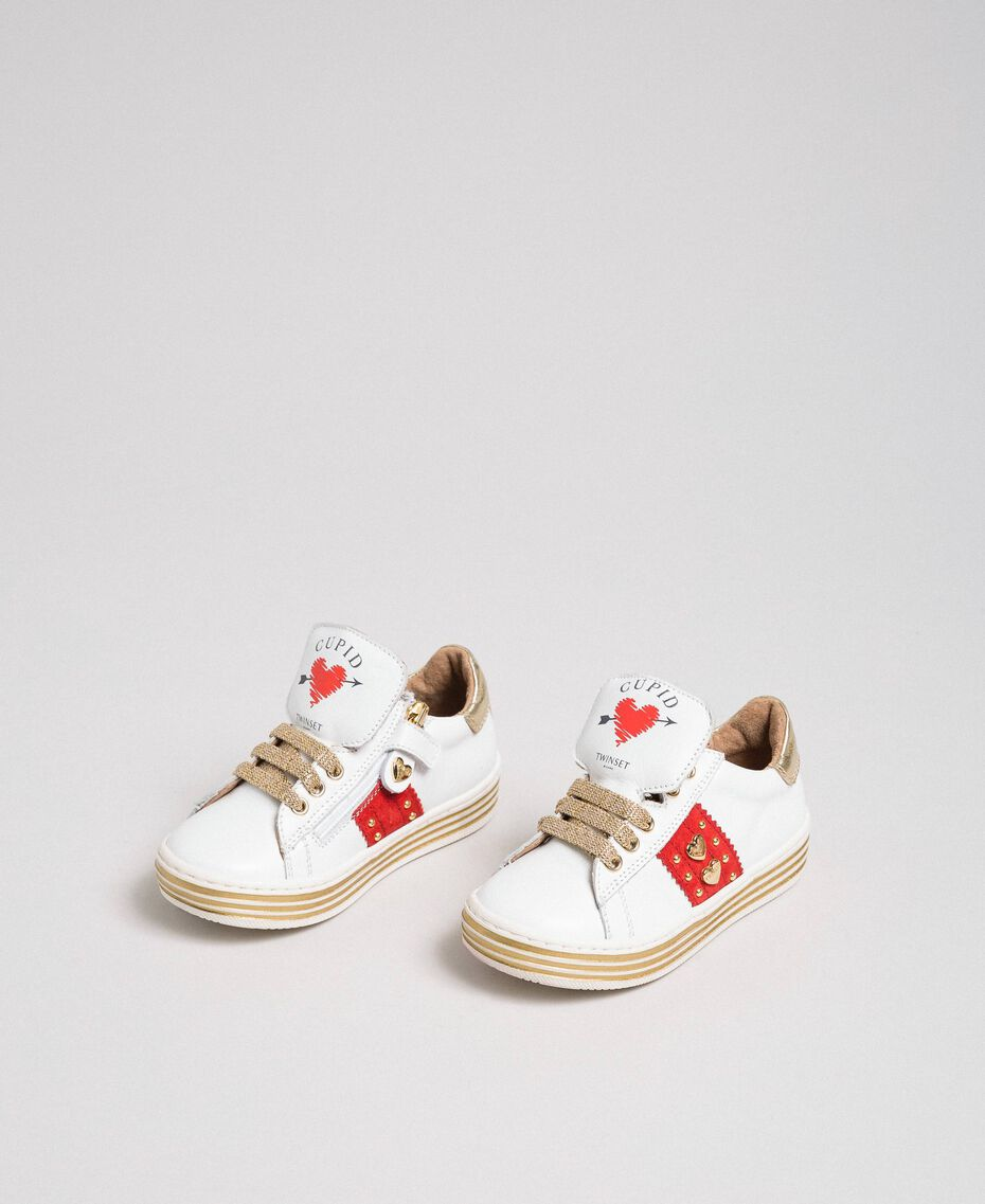Leather trainers with hearts and studs White Child 192GCB026-02