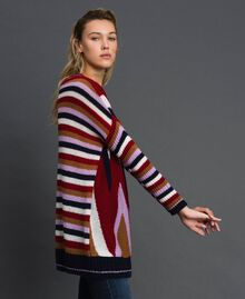 Maxi pull multicolore en laine et mohair Chevrons Rouge «Samba» Femme 192ST3110-02