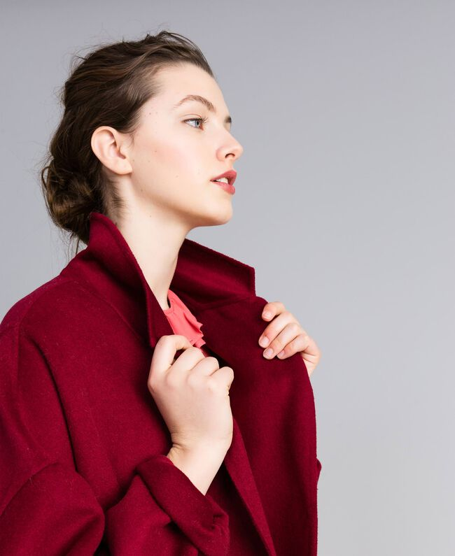 Cappotto lungo in panno double Bordeaux Donna PA8262-04