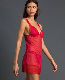 Nuisette en dentelle et tulle plumetis Rouge Ardent Femme 192LL6CZZ-02