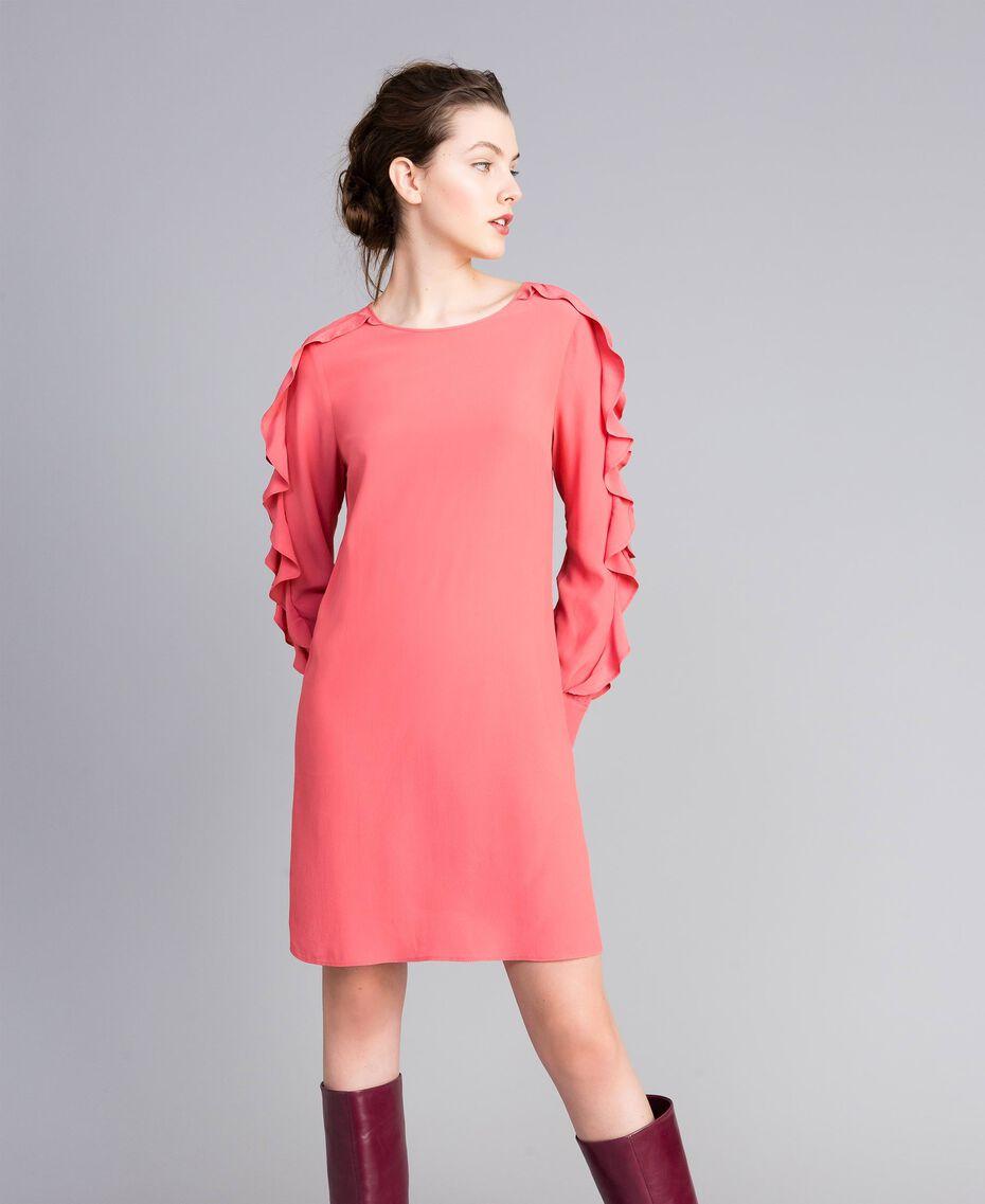 Kurzes Kleid aus Seidenmischung mit Volant Royal Pink Rosa Frau PA828A-02