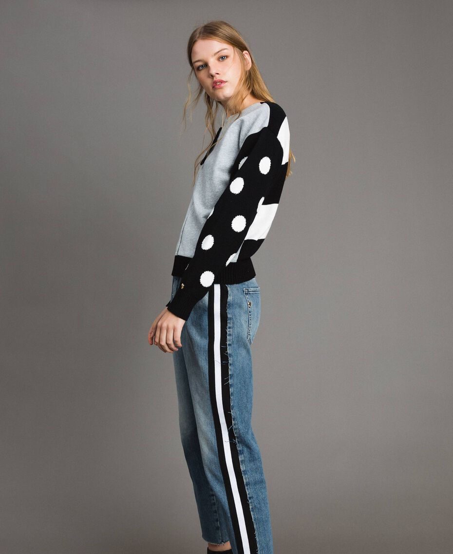 Plush cardigan-top with polka dots and stripes Multicolour Light Melange Grey / Black / White Woman 191MP3120-02