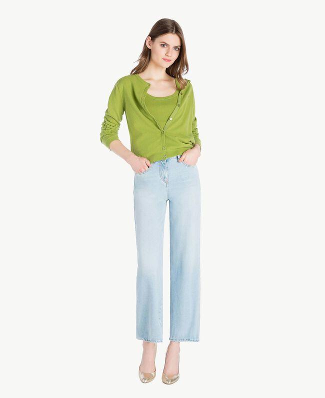 Cashmere mandarin collar jumper Green Pistachio Woman PS83EH-05