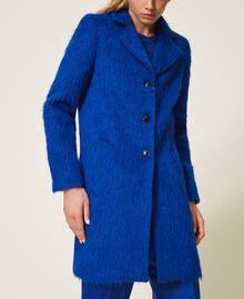 Mantel aus gerautem Tuch Dunkles Kornblumenblau Frau 202TP2602-05