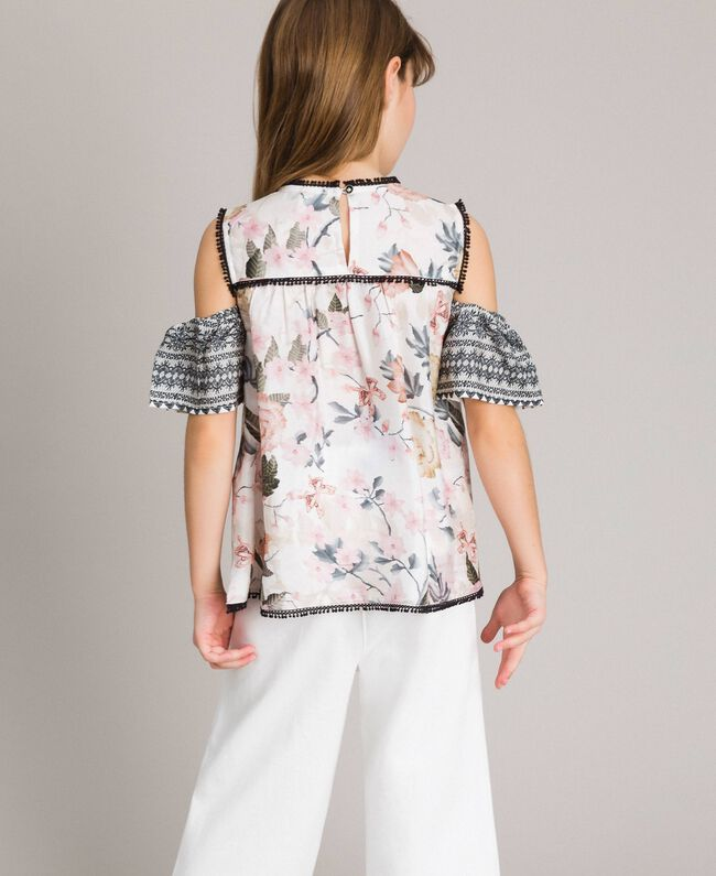 Floral viscose top with lace print Ramage Butterfly Print Child 191GJ2521-03