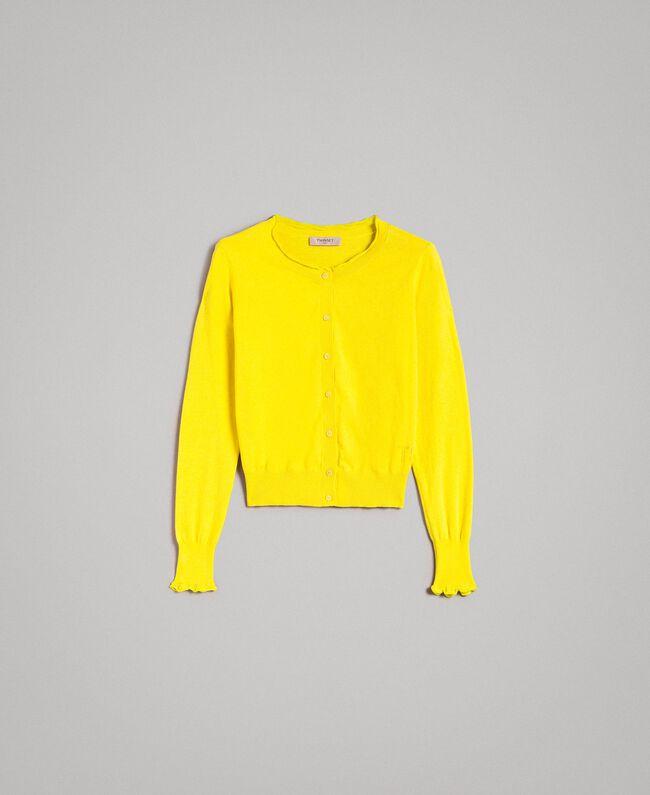 Cashmere blend mandarin collar top Yellow Woman 191TP306A-0S
