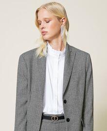"""Wool blend blazer with chevron pattern Black / """"Snow"""" White Chevron Woman 212TP2550-04"""