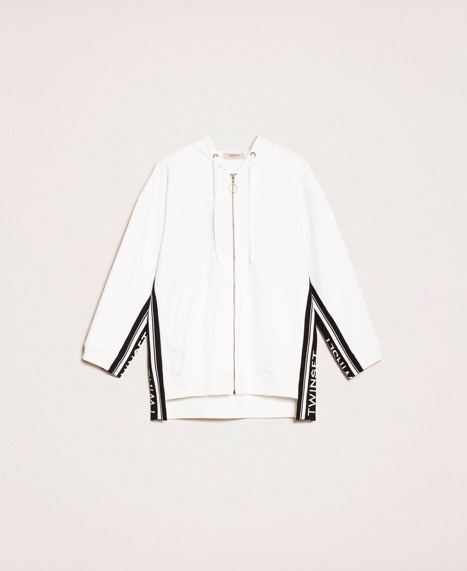 Maxi sweatshirt with jacquard logo Ivory Woman 201TP2070-0S
