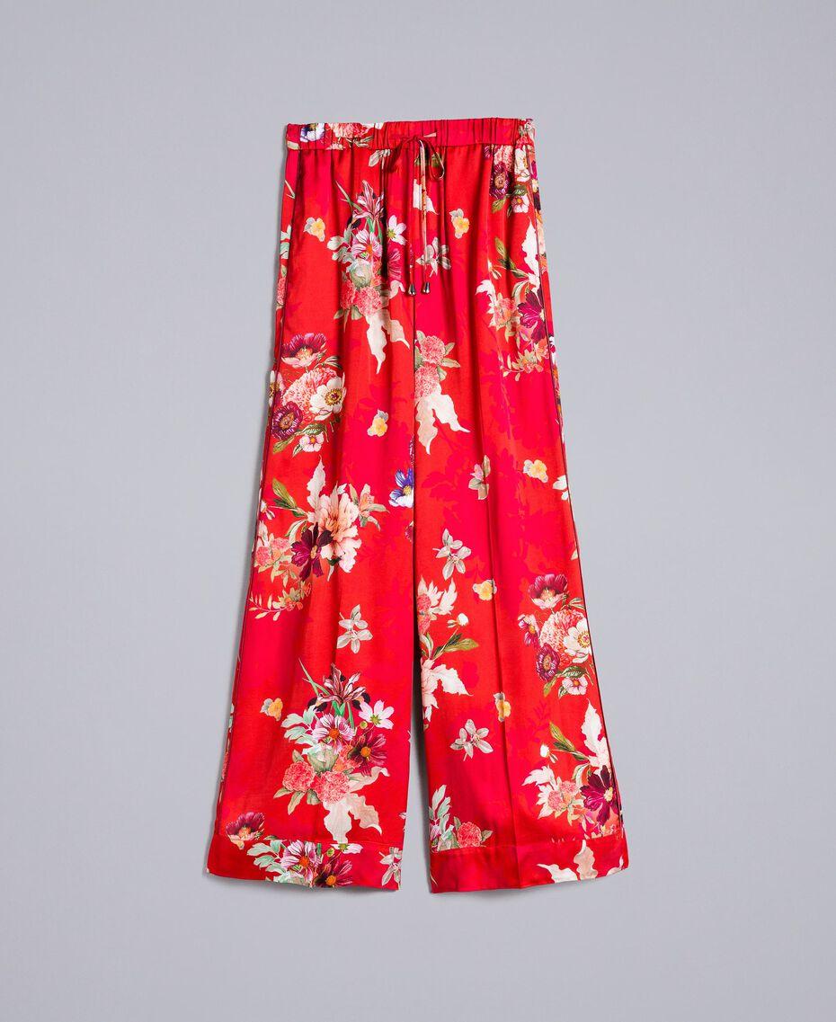 Pantalon palazzo en satin floral Imprimé Jardin Rouge Femme PA829Q-0S