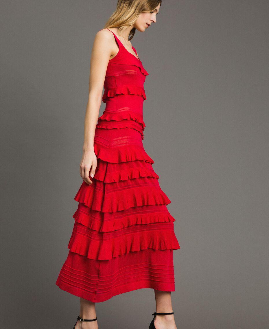 """Robe longue en crêpe georgette volanté Rouge """"Rouge à Lèvres"""" Femme 191TT3022-01"""