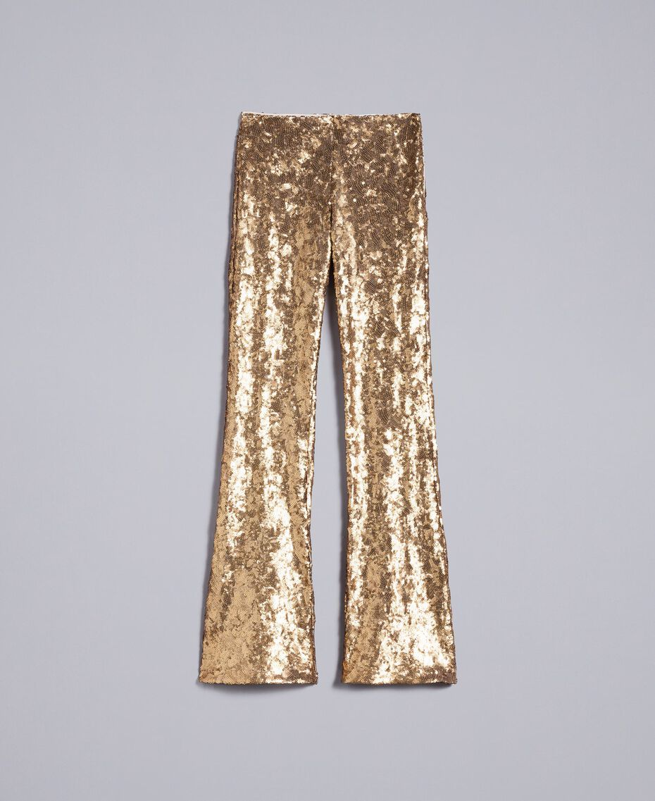 Sequined trousers Gold Yellow Woman QA8TEF-0S