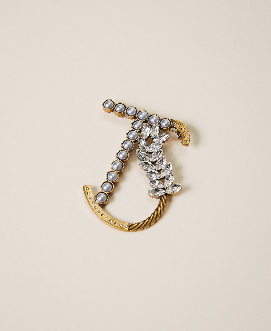 Logo brooch with pearls and rhinestones Two-tone Parchment White / Crystal Silver Woman 202TO5042-01