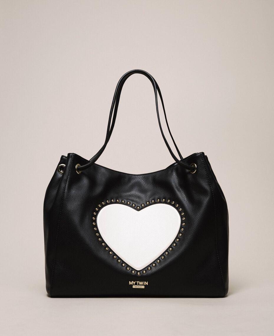 Hobo-Bag mit Herz und Nieten Schwarz / Vanilleweiß Frau 201MA7093-01