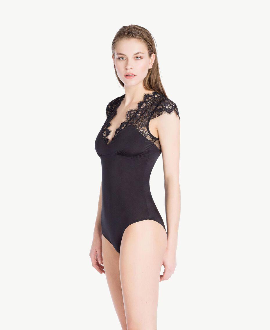 Body mit Spitze Schwarz Frau LS8C00-03