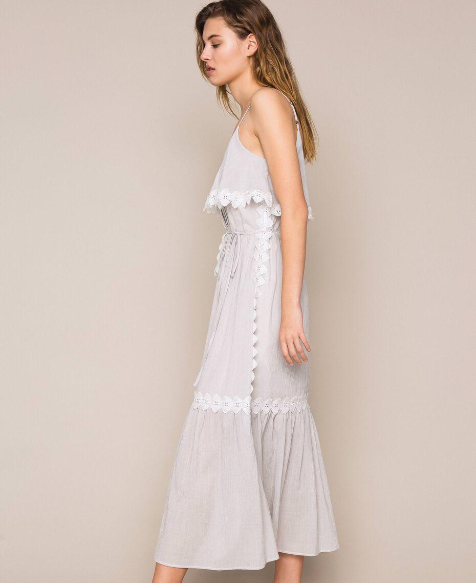 Robe longue en crépon avec dentelle Fil à fil Gris Moyen Femme 201TT2193-02