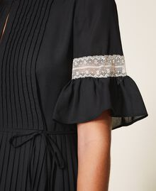 Pleated dress with lace Black Woman 202TP2130-05