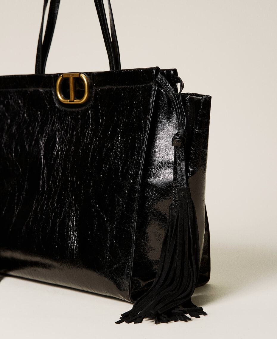 Leather shopper with fringes Black Woman 212TB7110-02