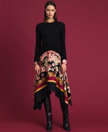 Dress in mohair and printed twill Black / Scarf Print Woman 192TP3060-01