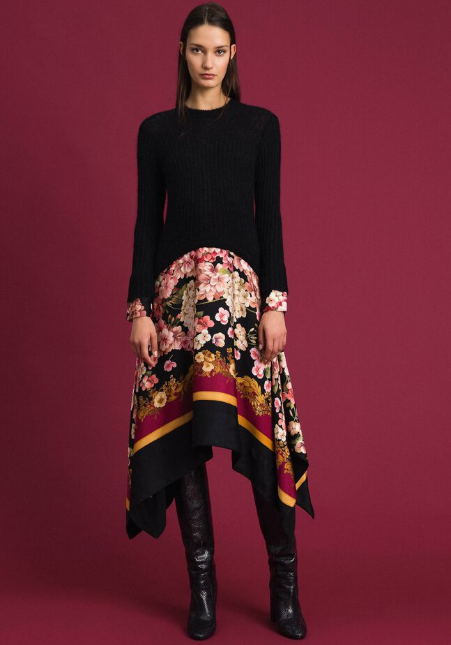 Dress in mohair and printed twill