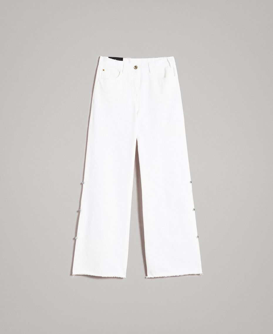 Wide leg jeans with slits White Cream Woman 191MP2500-0S