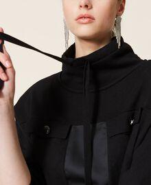 Robe en maille avec empiècements en satin Noir Femme 212AP3191-05