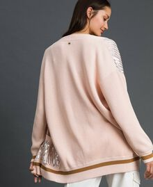 Contrasting trim and sequin maxi cardigan Blossom Pink / Irish Cream Woman 192MP3121-04
