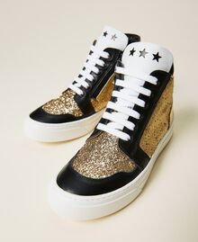 Sneakers de piel con lentejuelas Multicolor Oro Niño 212GCJ044-01