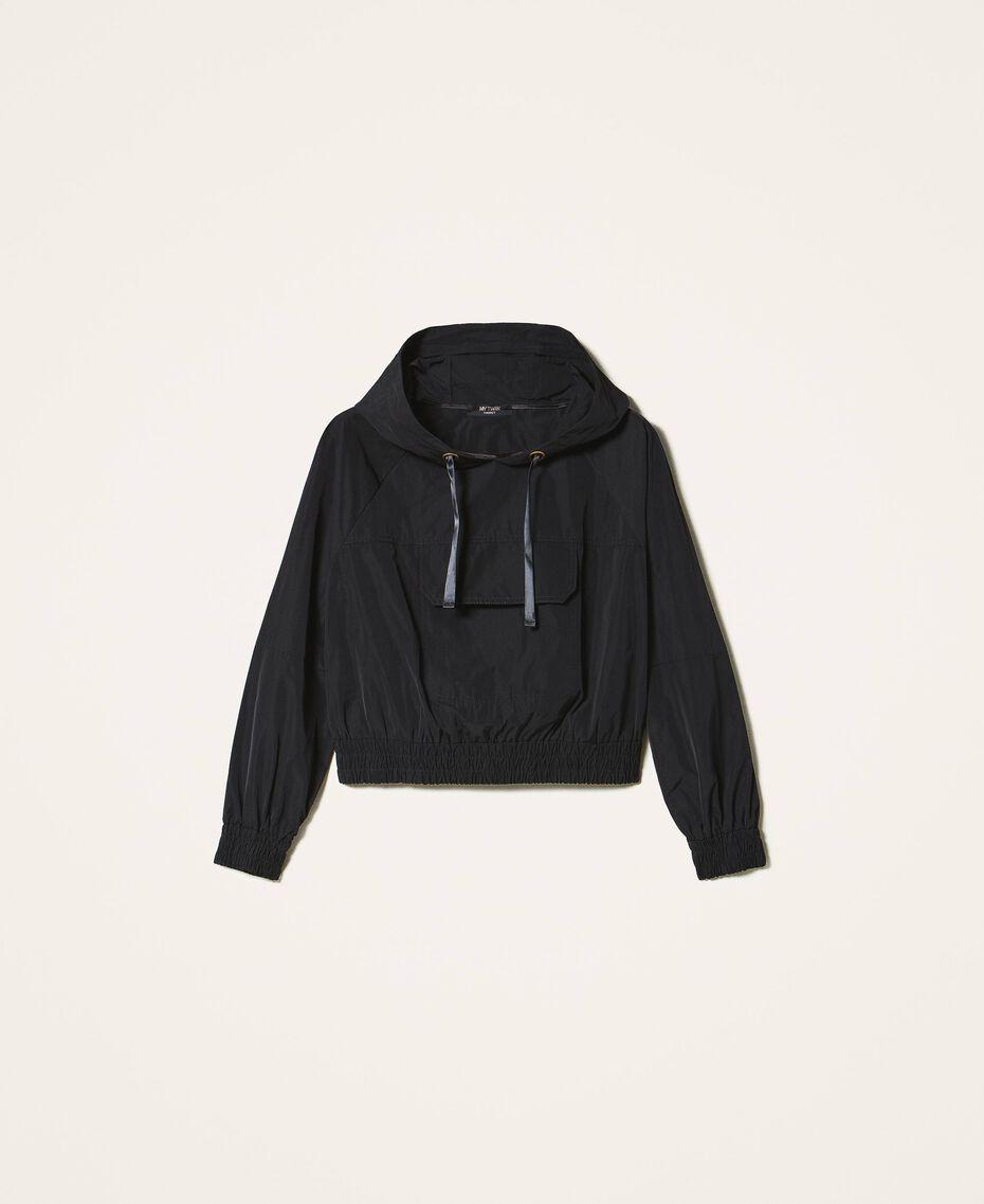 Taffeta jacket with hood Black Woman 202MP2142-0S