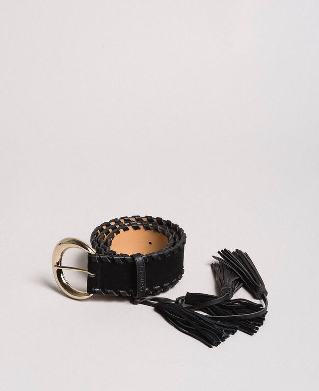 Leather belt with tassels Leather Brown Woman 191TA4307-01